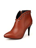 Для женщин Ботинки Гладиаторы Модная обувь Ботильоны Дерматин Осень Зима Для праздника Заклепки Молнии На шпилькеЧерный Красный