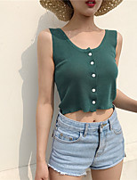 Women's Casual/Daily Simple Tank Top,Solid Round Neck Sleeveless Polyester