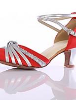 Women's Dance Sneakers Leatherette Heels Practice Buckle Customized Heel Ruby Customizable