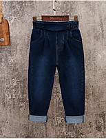 Pantalones Chico Un Color Algodón Otoño