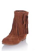 Feminino Sapatos Couro Ecológico Outono Inverno Botas da Moda Botas Para Casual Preto Marron Amêndoa