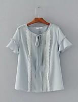 Для женщин На выход На каждый день Лето Блуза Круглый вырез,Простое Однотонный С короткими рукавами,Хлопок,Тонкая Средняя