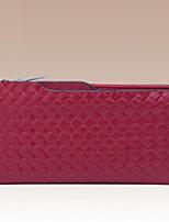 Women Checkbook Wallet Cowhide All Seasons Round Zipper Ruby