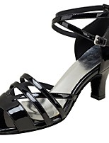 Women's Latin Real Leather Sandals Performance Criss-Cross Cuban Heel Black 2