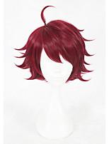 Pelucas sintéticas Sin Tapa Corto Liso Rojo Faux Locs Peluca Peluca de cosplay Las pelucas del traje