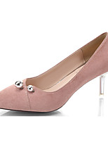 Women's Heels Comfort Summer PU Casual Buckle Stiletto Heel Black Gray Blushing Pink 1in-1 3/4in