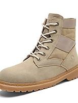 Для мужчин Ботинки Модная обувь Ботильоны Армейские ботинки Весна Осень Ткань Шнуровка На плоской подошве Черный Серый Хаки На плоской