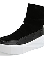 Men's Boots Comfort Fall Winter Fabric Casual Zipper Flat Heel Creepers Black/White Yellow Black Flat