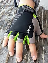 Men's Women Cotton Nylon Wrist Length Half Finger Soak Off Outdoor Sports Spring/Fall Summer Cycling Bike Gloves Red/Green/Grey/Orange