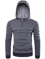 Men's Casual/Daily Simple Hoodie Solid Hooded Micro-elastic Cotton Long Sleeve Spring Fall