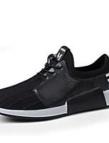 Men's Oxfords Walking Comfort PU Spring Summer Casual Office & Career Lace-up Flat Heel Black White Flat
