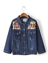 Feminino Jaqueta jeans Para Noite Casual Simples Moda de Rua Temática Asiática Primavera Outono,Sólido Estampado Estampa Colorida Padrão