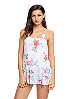 Women's Holiday Going out Sexy Summer Tank Top,Print Strap Sleeveless Polyester Spandex Medium