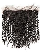 Malaysian rizado cabello rizado cierre frontal 13x4 pre desplumado con el pelo humano pelo remy humano
