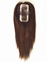 Uniwigs Remy Human Hair Mono Hairpiece Closure with Clips Hand Made Tied Hair Topper Straight 16 Inches for Hair Loss