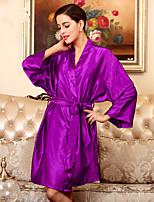 Robe de chambre Vêtement de nuit Femme,Sexy Solide Polyester