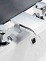 Contemporary Waterfall with  Double Handles Three Holes for  Chrome Finish Bathroom Basin Sink Faucet Set