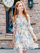 YHSPWomen's Going out Casual/Daily Simple Sophisticated A Line Sheath Chiffon DressPrint V Neck Above Knee Half Sleeve Polyester Summer Fall