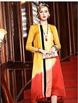 YENMEINAR  Women's Casual/Daily Sheath DressSolid Print Patchwork Round Neck Midi 3/4 Length Sleeve Silk Spring High Rise Micro-elastic Medium