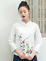Damen Solide Blumen Stickerei Retro Einfach Lässig/Alltäglich T-shirt,V-Ausschnitt 3/4 Ärmel Baumwolle Leinen