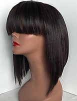 Silk Straight Human Hair Bob Wigs With Bangs Glueless Full Lace Wigs For Black Women Cheap On Sale