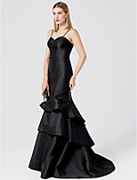 Mermaid / Trumpet Spaghetti Straps Sweep / Brush Train Satin Formal Evening Dress with Tiered by TS Couture®