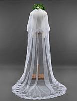 Wedding Veil Two-tier Chapel Veils Lace Applique Edge Scalloped Edge Lace Tulle