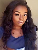 Side part body wave pour les femmes noires glueless pleine dentelle cheveux humains perruques moyen marron dentelle adapté pour les femmes