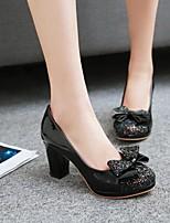 Mujer Zapatos PU Primavera Confort Tacones Tacón Robusto Dedo redondo Para Casual Negro Beige Rosa