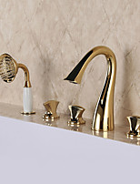 Luxury Glam Classic Widespread High Quality with  Brass Valve Three Handles Five Holes for  Ti-PVD , Bathtub Faucet