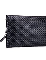 Men Clutch Cowhide All Seasons Square Zipper Black