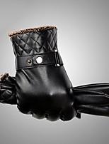 Men's Telefingers Genuine Leather Fur Wrist Length Fingertips Windproof Keep Warm Waterproof High Quality Fashion Black