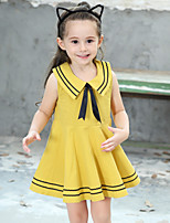 Girl's Cotton Fashion And Lovely  The Navy Breezes Skirt Bow Tie  Princess Dress