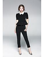 JOJO HANS  Women's Casual/Daily Sophisticated Spring T-shirt Pant SuitsPrint U Neck  Length Sleeve