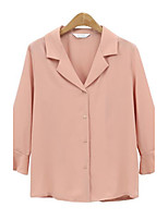Women's Casual/Daily Street chic Summer Blouse,Solid Shirt Collar Long Sleeves Polyester Medium