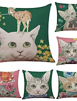Set of 6 Cat Bow Tie Pattern Linen Cushion Cover Home Office Sofa Square Pillow Case Decorative Cushion Covers Pillowcases (18*18Inch)