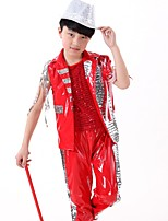 Jazz Outfits Boys' Performance Polyester Tassel(s) Paillettes 2 Pieces Sleeveless High Tops Shorts