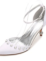 Women's Wedding Shoes Comfort D'Orsay & Two-Piece Basic Pump Spring Summer Satin Wedding Dress Party & Evening Rhinestone Pearl Imitation