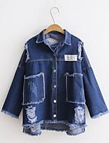 Для женщин На выход На каждый день Весна Осень Джинсовая куртка Рубашечный воротник,Простой Шинуазери (китайский стиль)Однотонный С