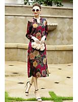 Для женщин На каждый день Шинуазери (китайский стиль) Свободный силуэт Платье Цветочный принт,V-образный вырез Средней длины Длинный рукав