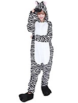 Kigurumi Pajamas Zebra Leotard/Onesie Shoes Festival/Holiday Animal Sleepwear Halloween Fashion Stripe Embroidered Flannel Fabric Cosplay With Shoes