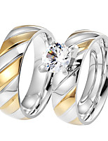 2PCS Couple's  Rings AAA Cubic Zirconia Fashion Vintage Elegant  Titanium Steel Ring Jewelry For Wedding Engagement Daily Party