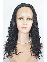 Парики из искусственных волос Лента спереди Длиный Средний коричневый Черный как смоль Черный Темно-коричневый Парик из натуральных волос