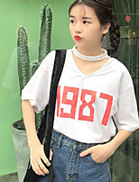 Women's Casual/Daily Simple Spring T-shirt,Print Letter V Neck Short Sleeve Cotton Others