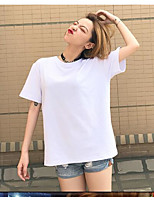 Women's Going out Cute Summer T-shirt,Solid Print Round Neck Short Sleeve Cotton Opaque