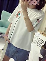 Для женщин На каждый день Лето Футболка Круглый вырез,Очаровательный Шинуазери (китайский стиль) Вышивка Рукав до локтя,Хлопок