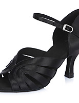 Women's Latin Satin Sandals Heels Professional Buckle Stiletto Heel Black 2