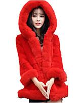 Для женщин На каждый день Осень Зима Пальто с мехом Капюшон,Очаровательный Однотонный Длинная Длинный рукав,Лисий Мех