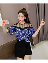 Women's Casual/Daily Simple Summer Blouse,Floral Boat Neck Half Sleeve Others