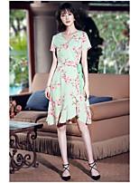 Gaine Robe Femme Sortie Mignon,Imprimé Col en V Mi-long Manches Courtes Polyester Eté Taille Normale Micro-élastique Moyen